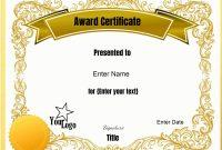 Blank Award Certificate Template Best Of Free Printable Blank Award inside Free Printable Blank Award Certificate Templates