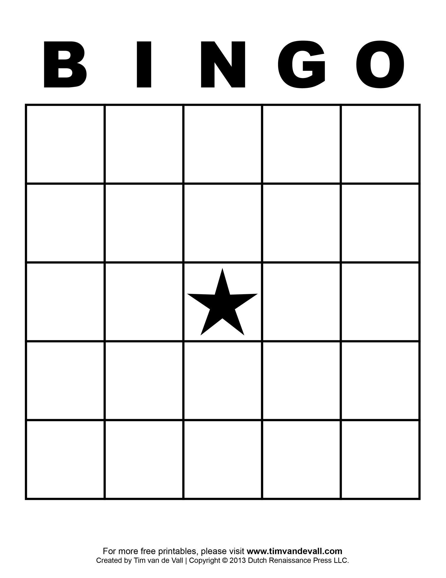 Blank Bingo Template  Tim's Printables With Bingo Card Template Word