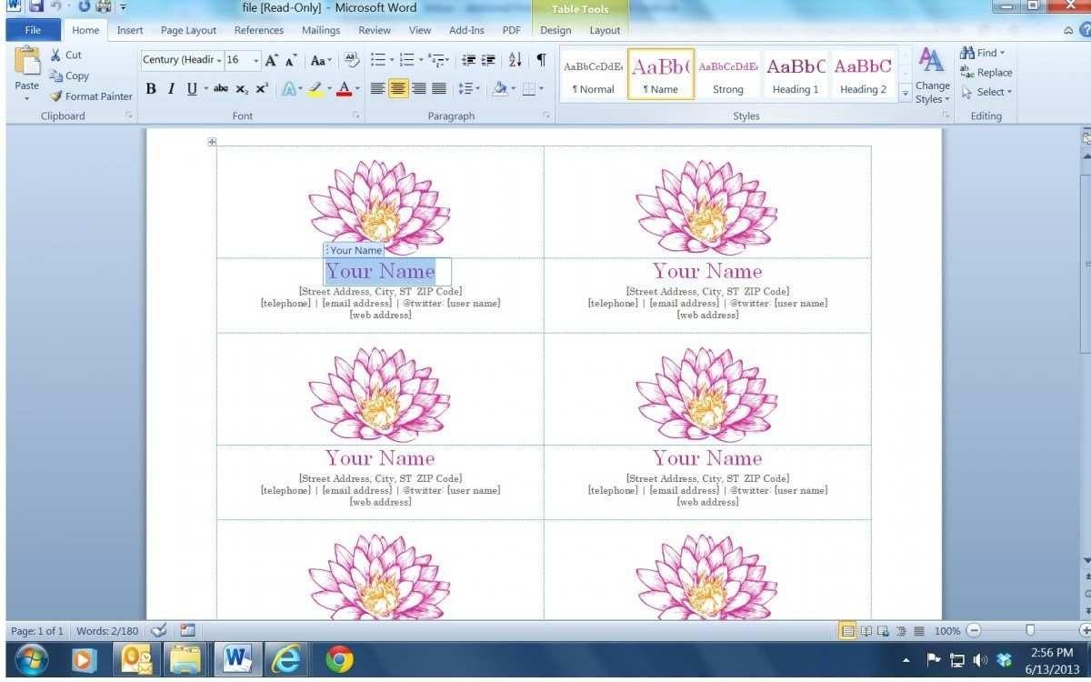 Blank Business Card Template Microsoft Word Within Word 2013 Business Card Template