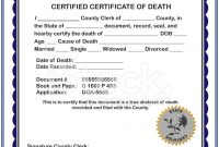 Blank Certificate Of Death Stock Photos  Freeimages with Fake Death Certificate Template