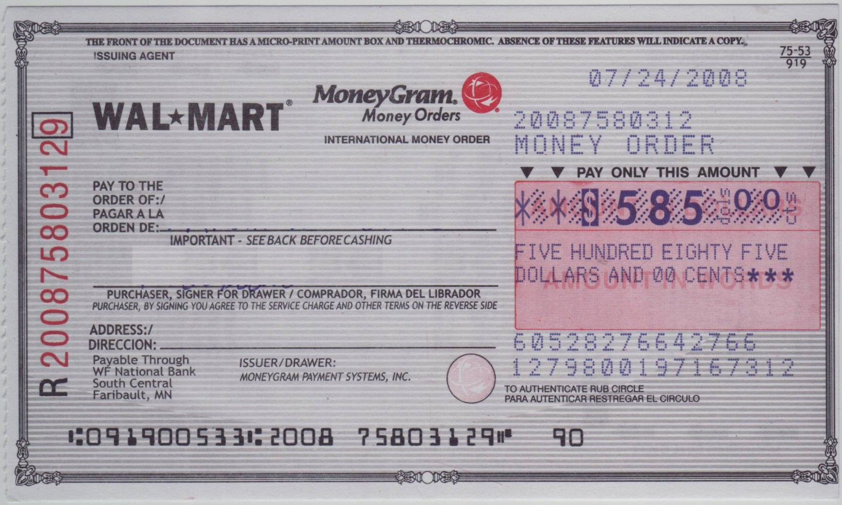 Blank Check Sample  How To Fill Out A Moneygram Money Order Inside Blank Money Order Template
