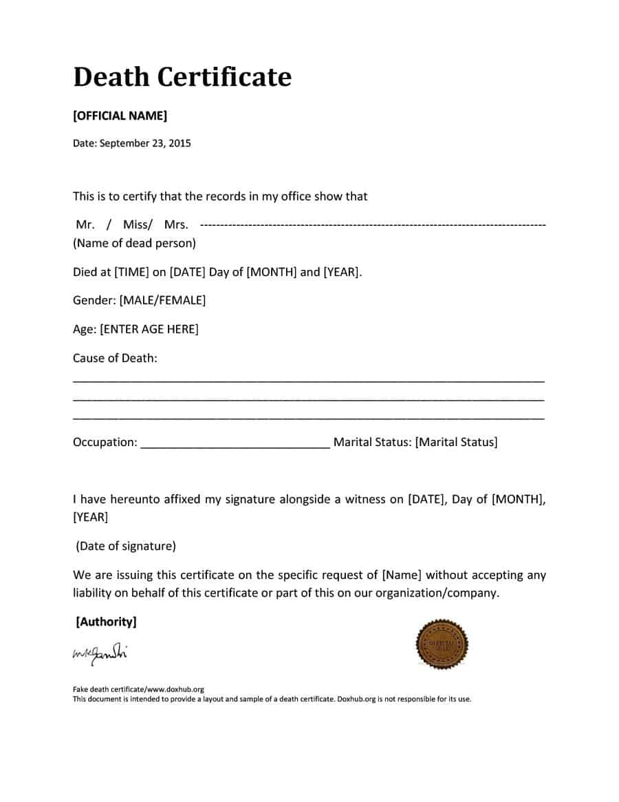 Blank Death Certificate Templates  Free ᐅ Template Lab In Fake Medical Certificate Template Download