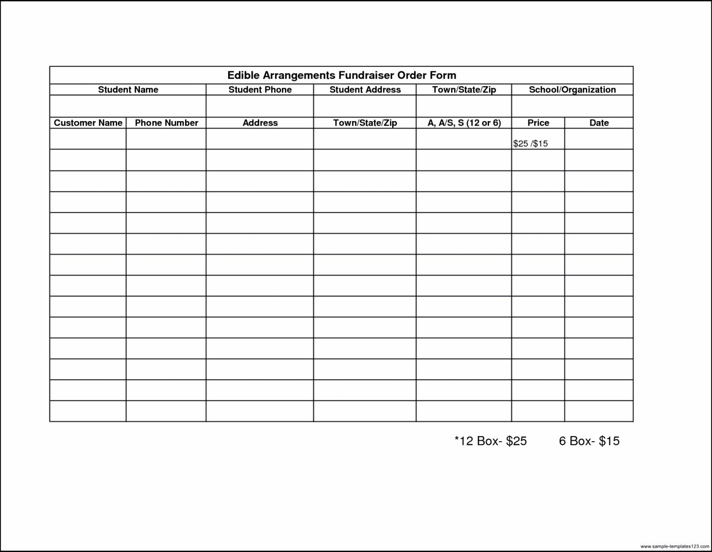 Blank Fundraiser Order Form Template Final Photos Addition Free Pertaining To Blank Fundraiser Order Form Template