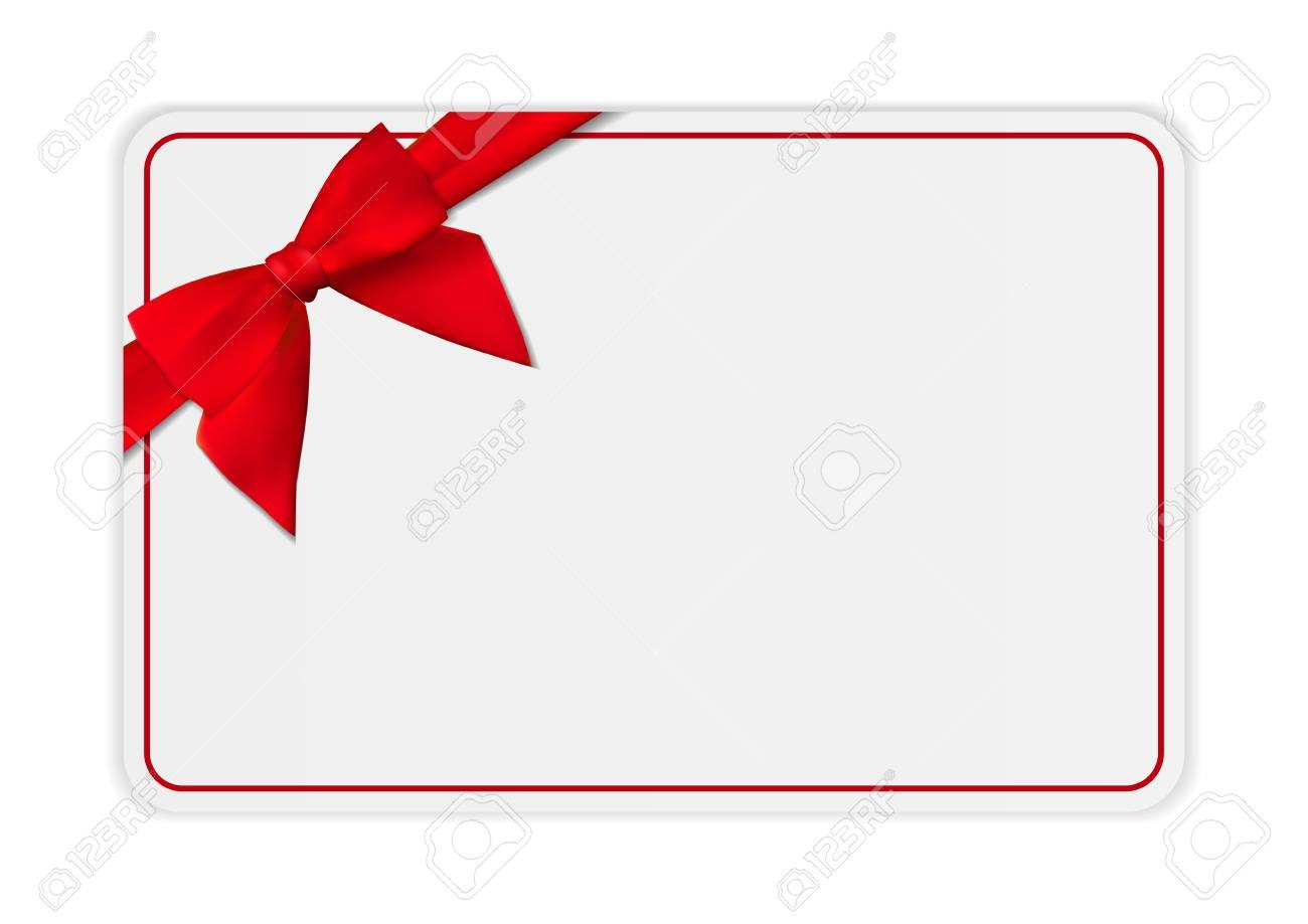 Blank Gift Card Template With Bow And Ribbon Vector Illustration For Present Card Template