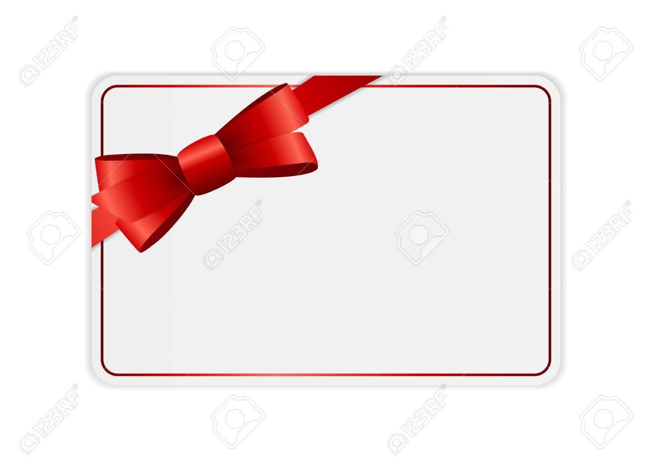Blank Gift Card Template With Bow And Ribbon Vector Illustration In Present Card Template