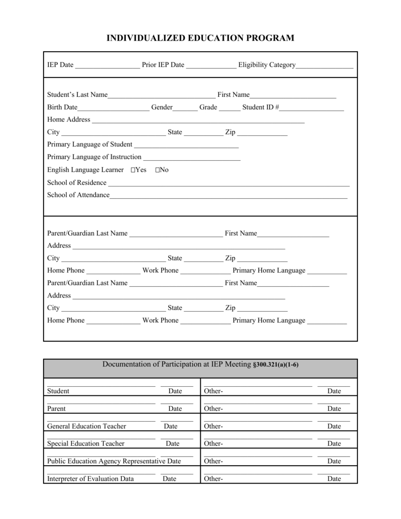 Blank Iep Form Regarding Blank Iep Template