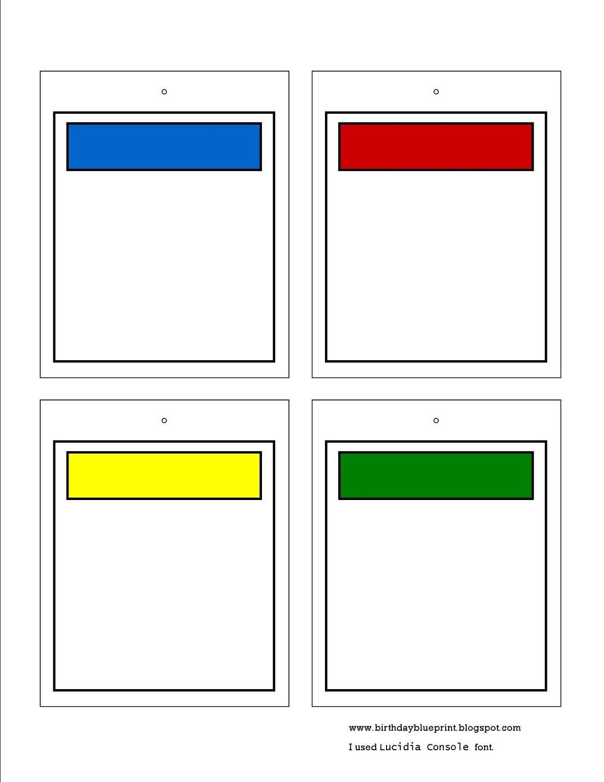 Blank Monopoly Property Cards To Write In The Bible Memory Verse With Monopoly Property Cards Template