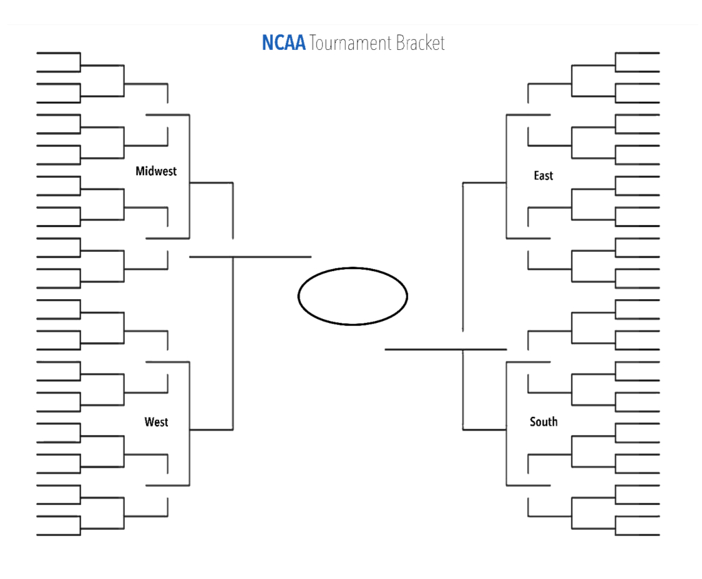 Blank Ncaa Tournament Brackets To Print For Men's March Madness Inside Blank Ncaa Bracket Template