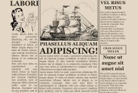 Blank Old Newspaper Template for Blank Old Newspaper Template