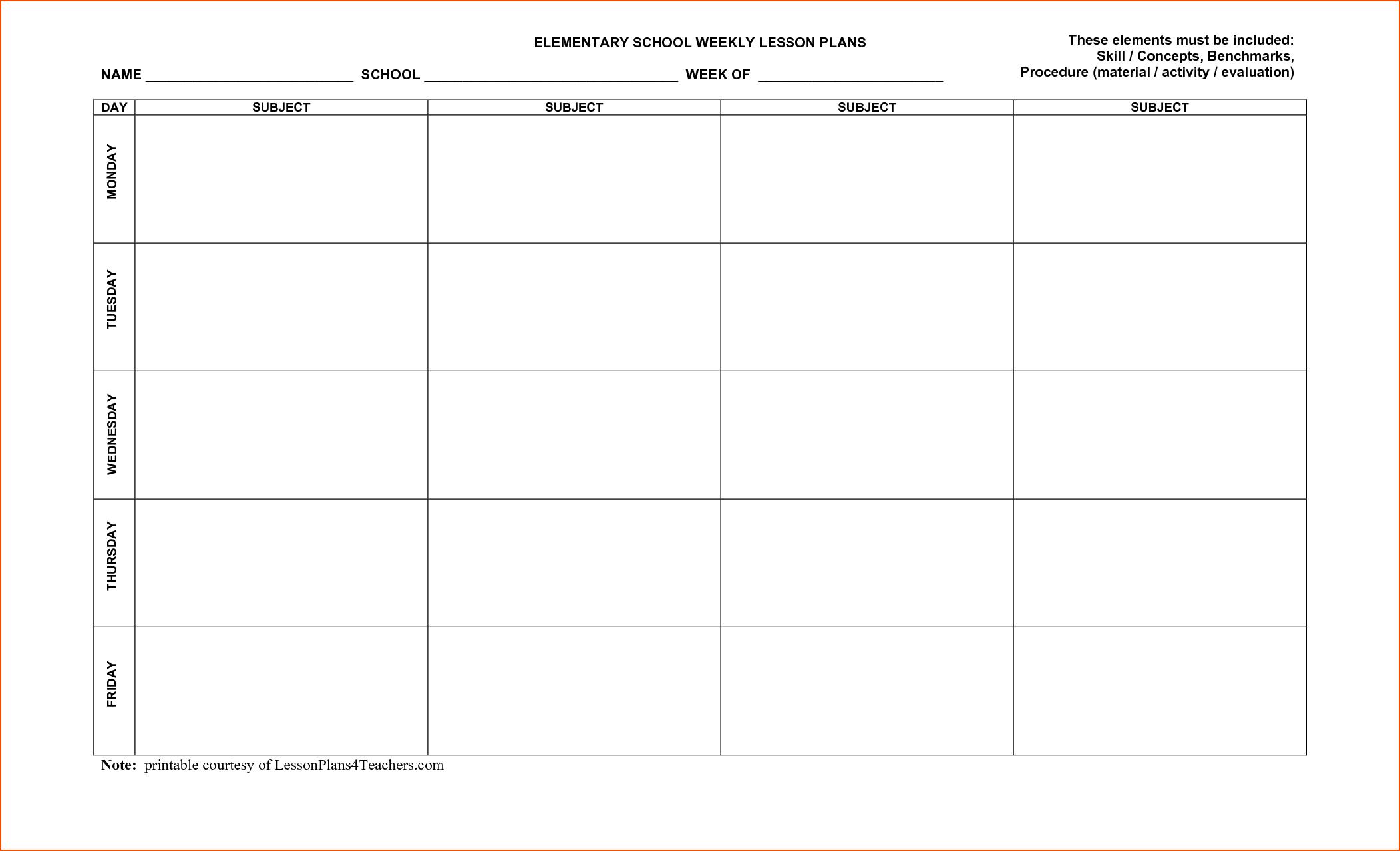 Blank Preschool Lesson Plan Template Pdf Free Printable For Blank Preschool Lesson Plan Template