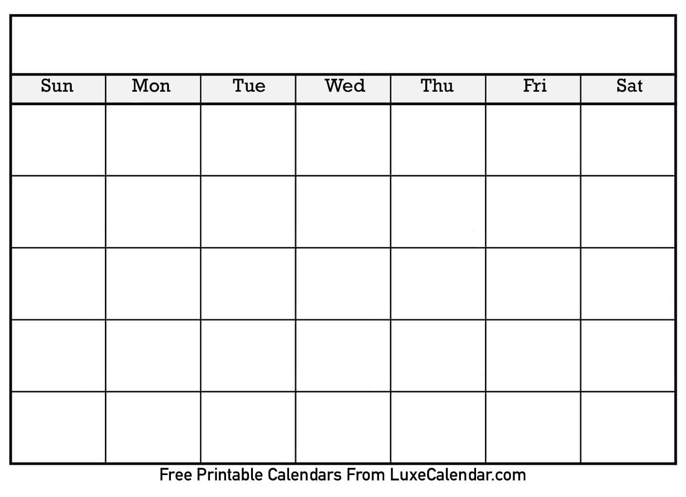 Blank Printable Calendar  Luxe Calendar In Blank Calender Template