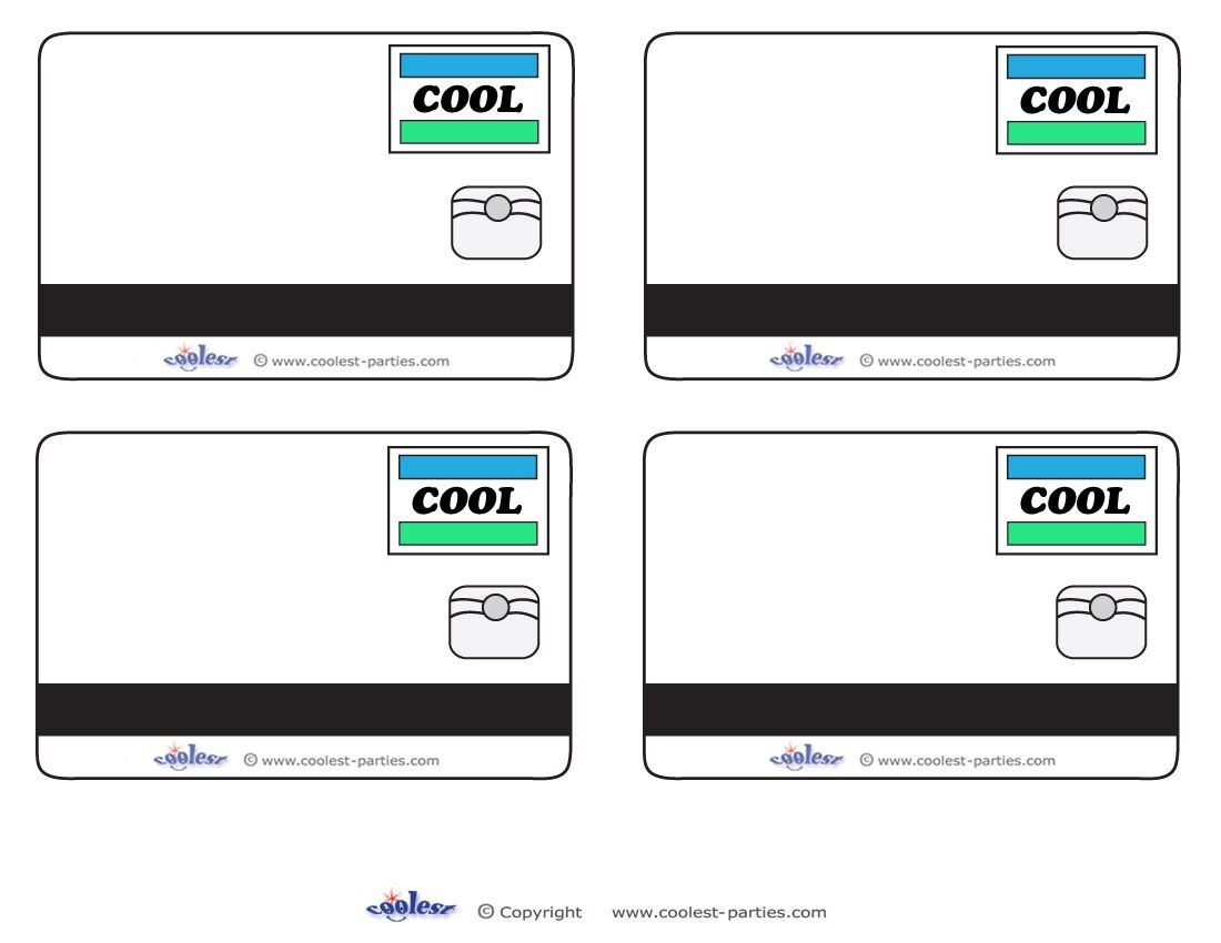 Blank Printable Cool Credit Card Thank You Cards For A Mall Regarding Credit Card Template For Kids