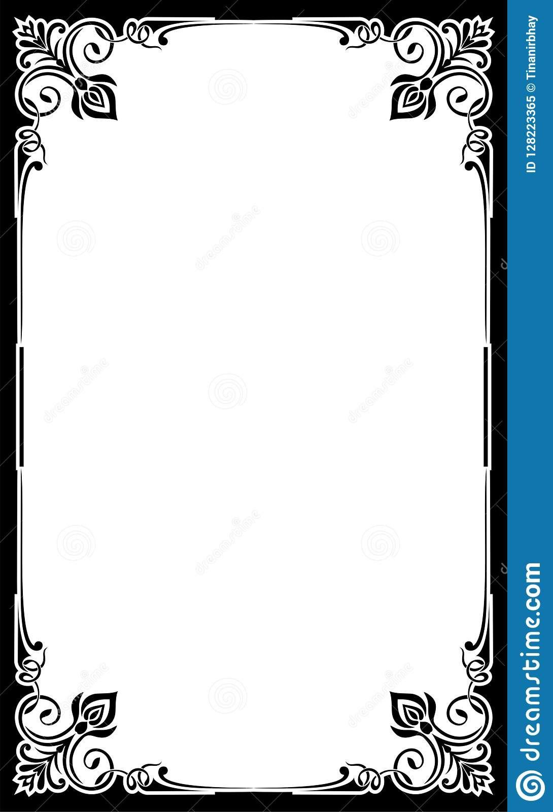 Blank Restaurant Menu Template Card Frame Background Cute Fancy Inside Fancy Menu Template Free