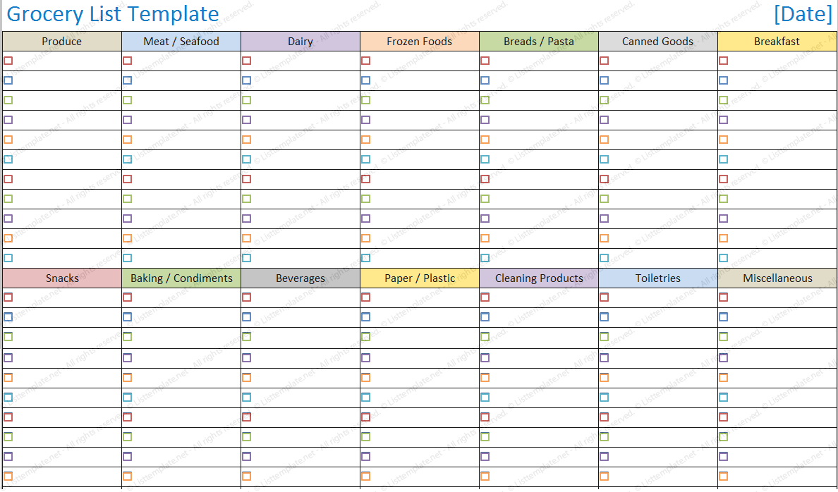 Blank Shopping List Printable Template  Blank Grocery List Template With Blank Grocery Shopping List Template