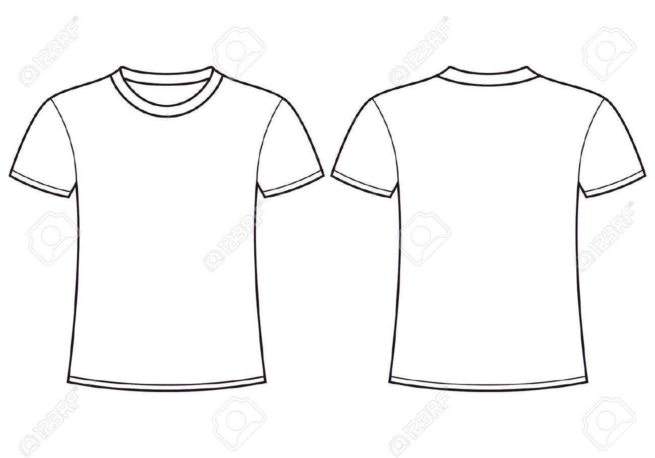 Blank Tshirt Template Front And Back Royalty Free Cliparts Vectors Throughout Blank T Shirt Outline Template