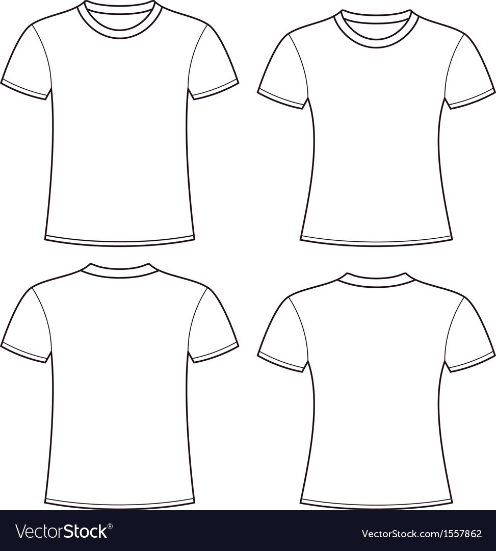 Blank Tshirts Template Royalty Free Vector Image Inside Blank T Shirt Outline Template