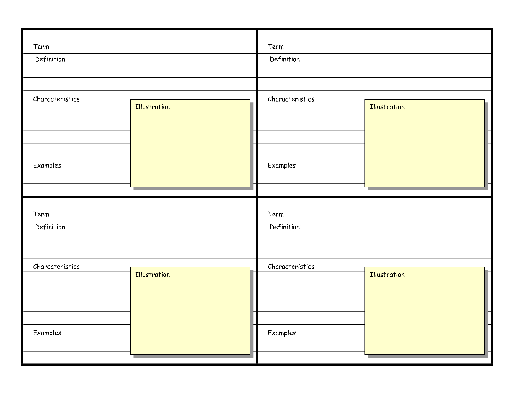 Blank Vocabulary Card Template  Frayer Models  Vocabulary Cards With Microsoft Word Index Card Template