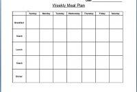 Blank Weekly Menu  Chart And Printable World pertaining to Weekly Menu Template Word