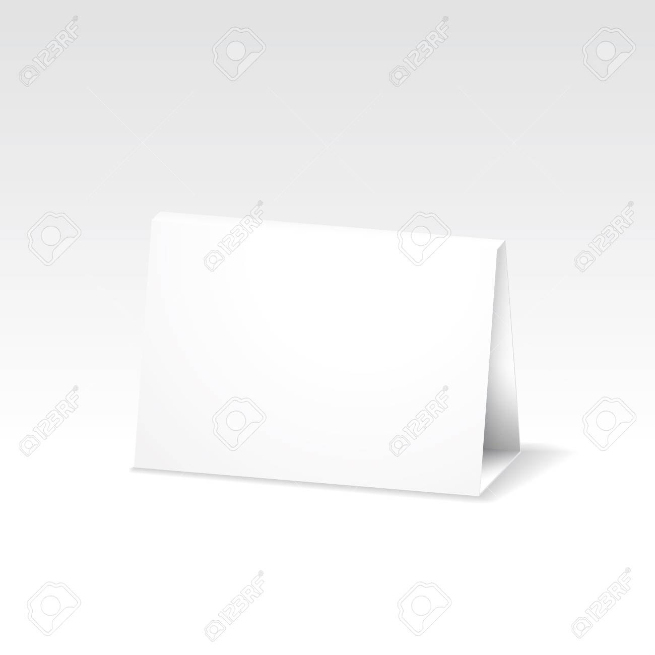 Blank White Folded Paper Stand Table Holder Card D Vector Design Pertaining To Card Stand Template