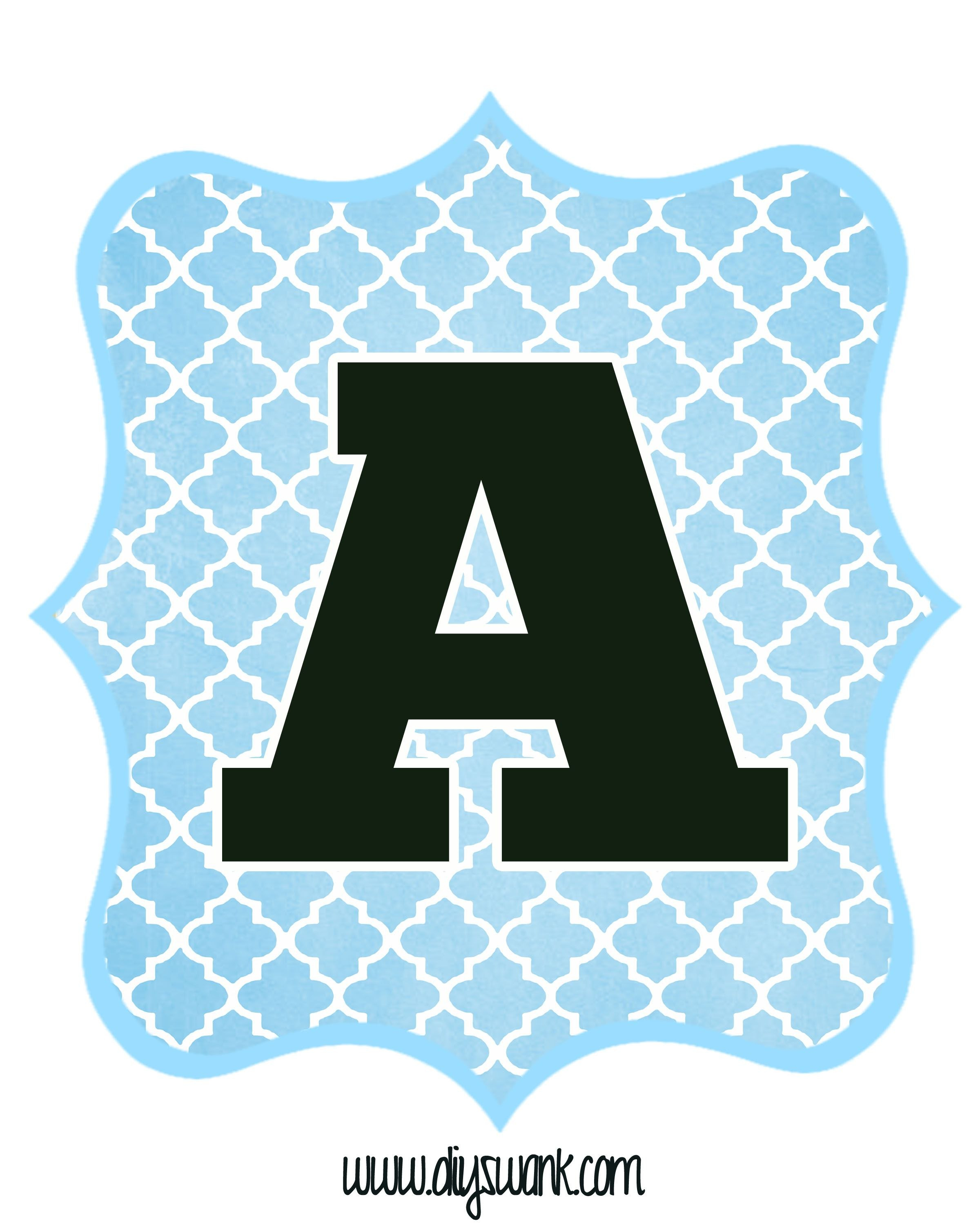 Blue And Black Printable Letters For Banners  Letters  Printable Pertaining To Free Letter Templates For Banners