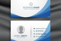 Blue Wave Simple Business Card Design Template Vector Image with Visiting Card Illustrator Templates Download