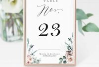 Boho Table Number Card Boho Floral Table Card Template  Etsy pertaining to Table Number Cards Template