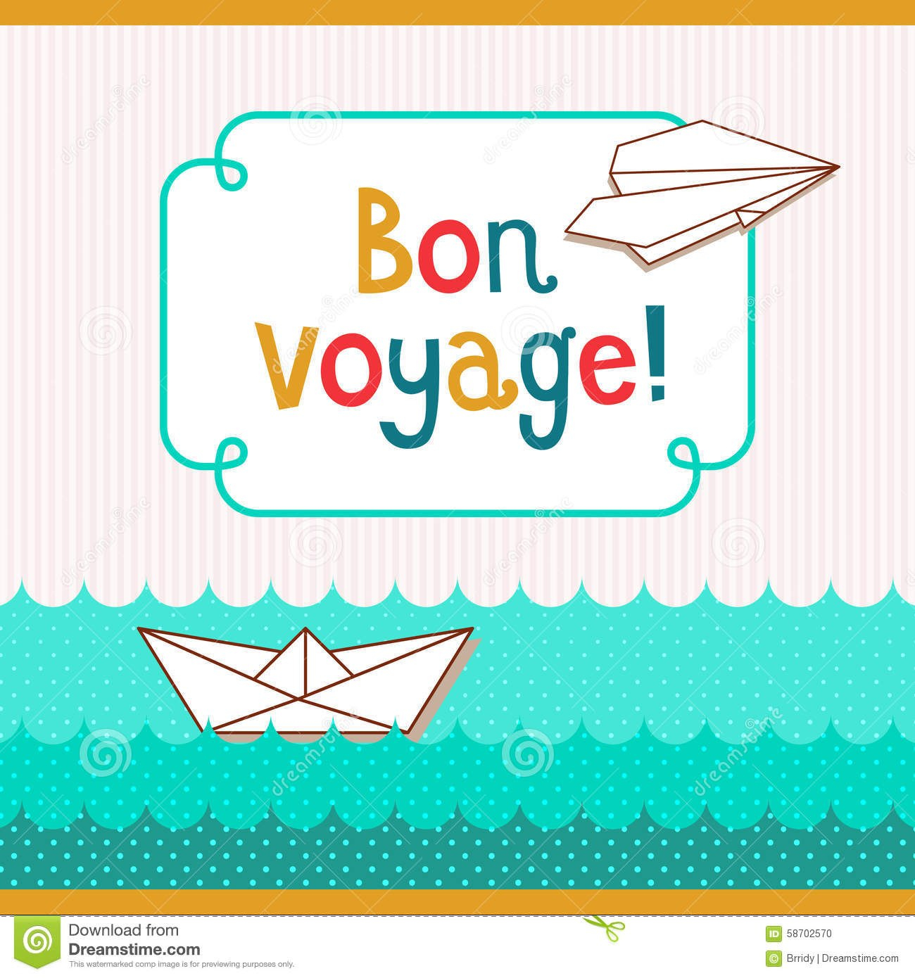 Bon Voyage Card Stock Vector Illustration Of Paper Airplane Throughout Bon Voyage Card Template