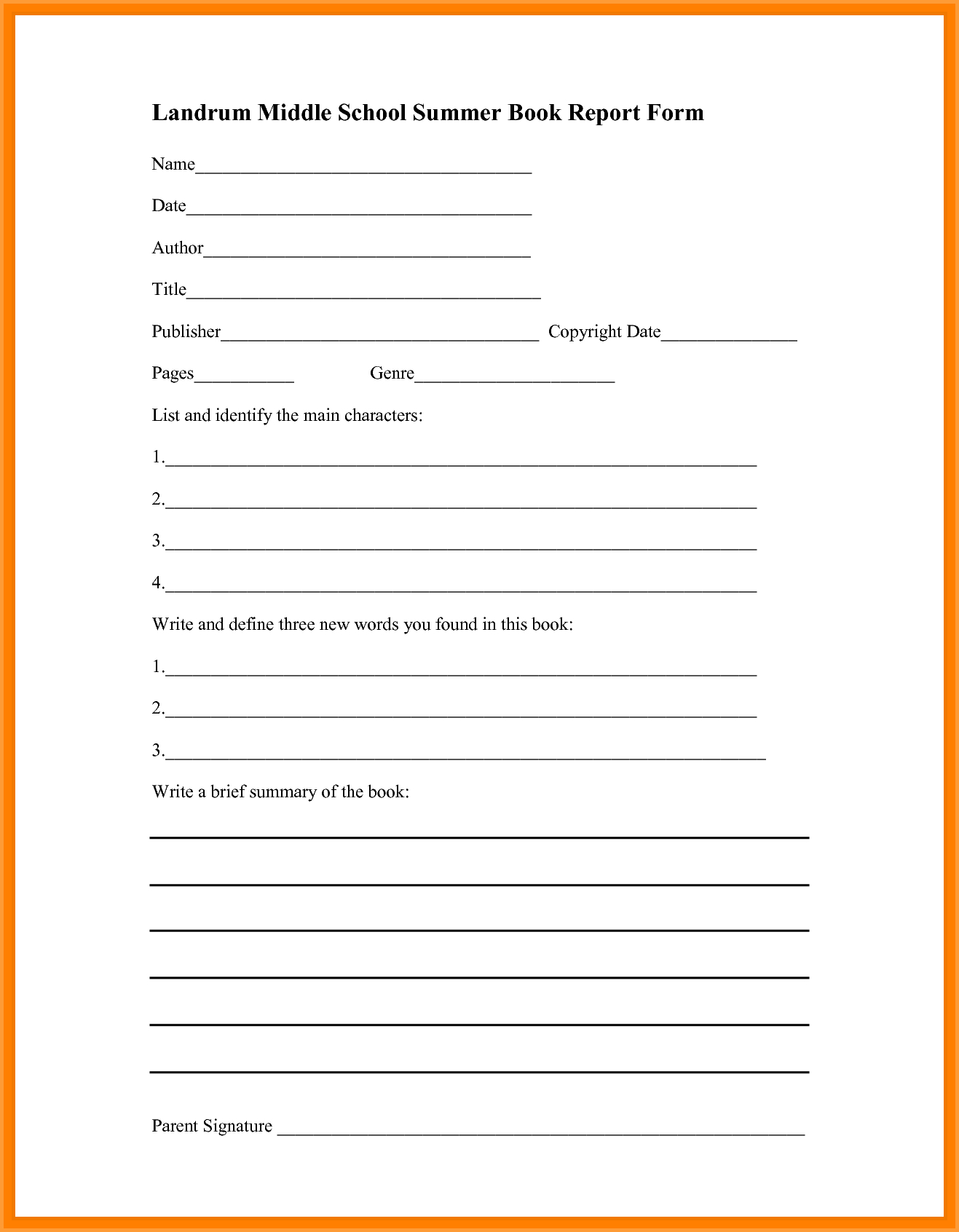 Book Report Template Middle School  Types Of Letter Throughout Book Report Template High School