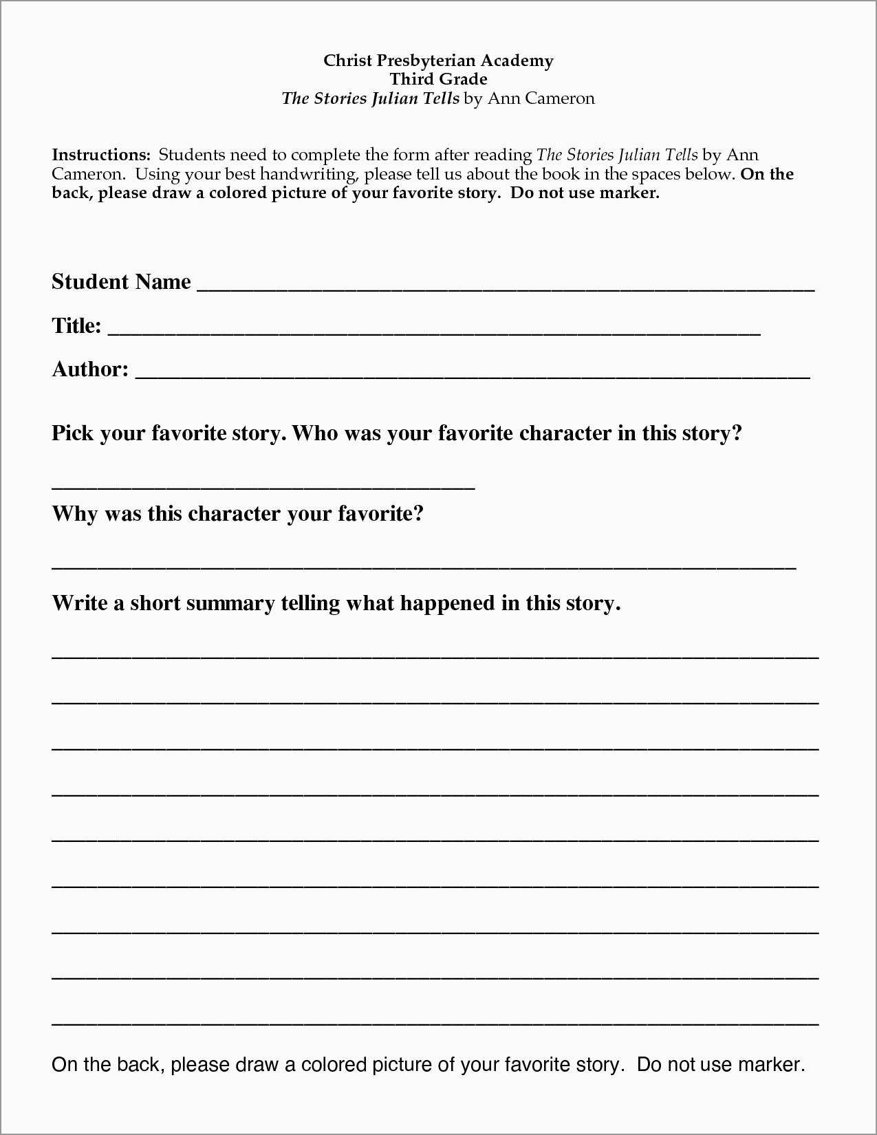 Book Report Template Nd Grade Free New  Best Of Nd Grade Book Throughout 2Nd Grade Book Report Template