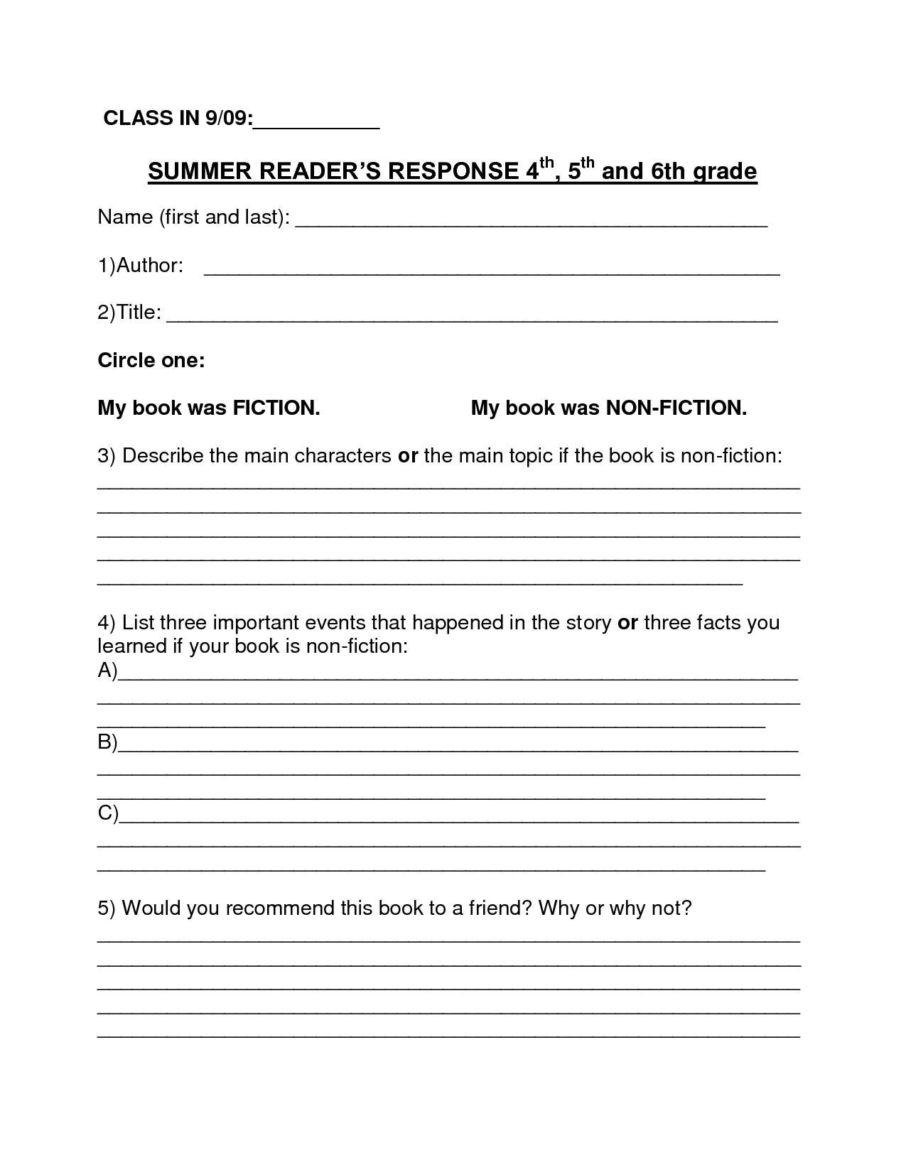 Book Report Template  Summer Book Report Th Th Grade  Download Within Book Report Template 4Th Grade