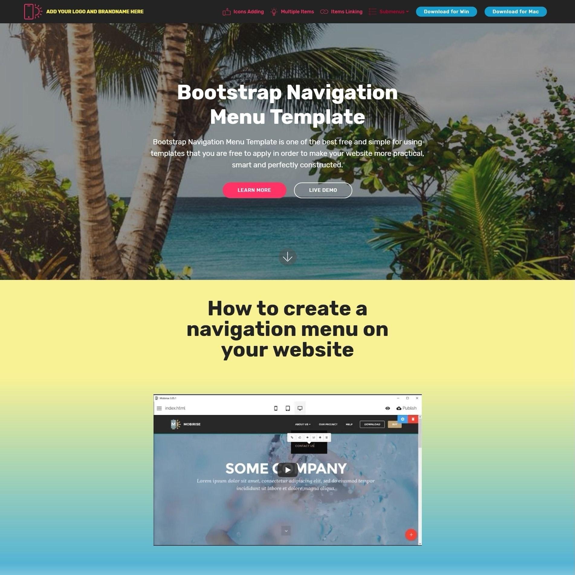 Bootstrap Navigation Menu Template Pertaining To Simple Html Menu Template