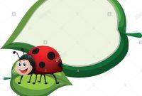 Border Template With Ladybug On Leaf Illustration Stock Vector Art in Blank Ladybug Template