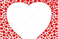 Border With Red Hearts Greeting Card Design Template Decorated With With Regard To Small Greeting Card Template