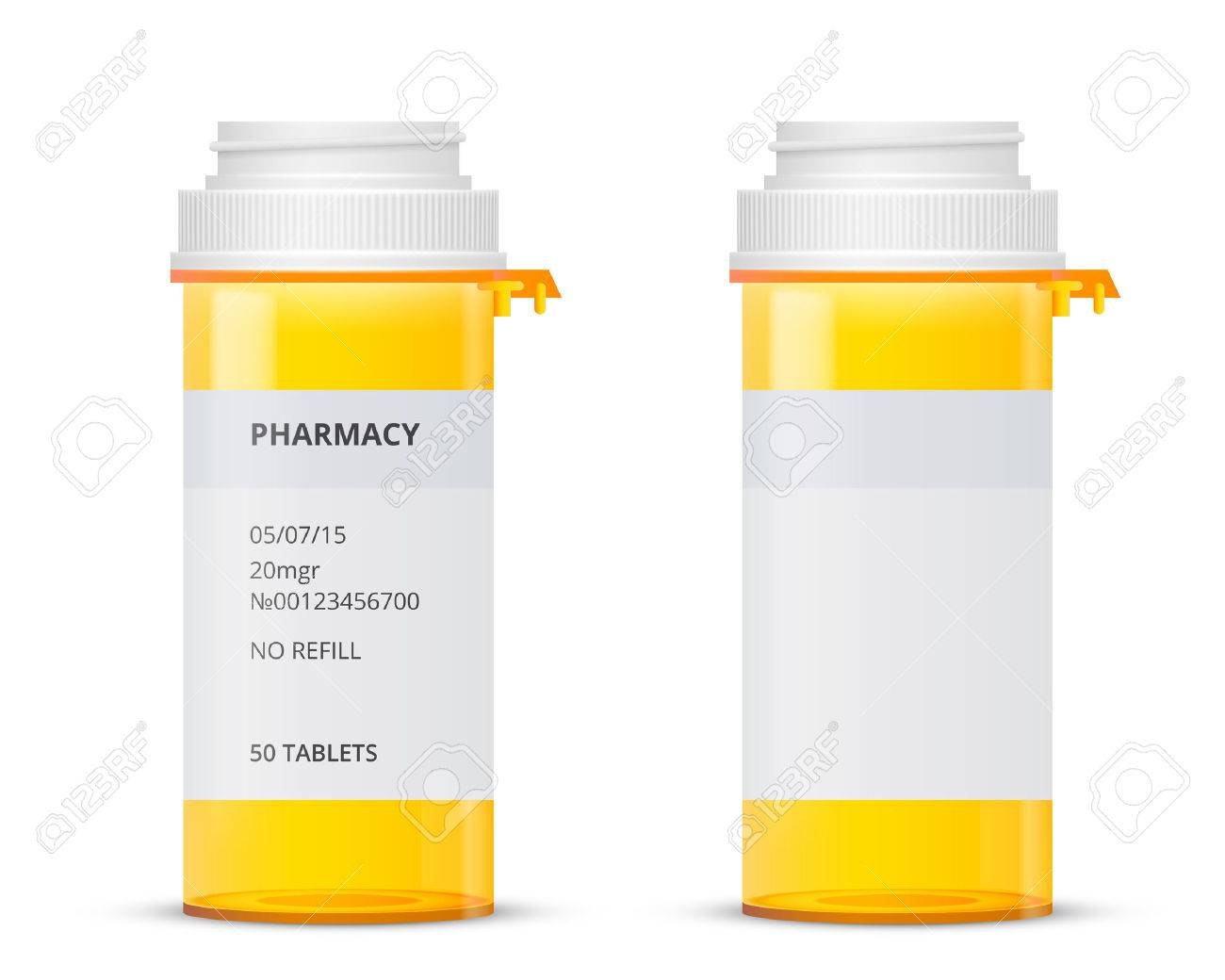 Bottle Of Of Prescription Pill With Labels Template Vector In Prescription Bottle Label Template