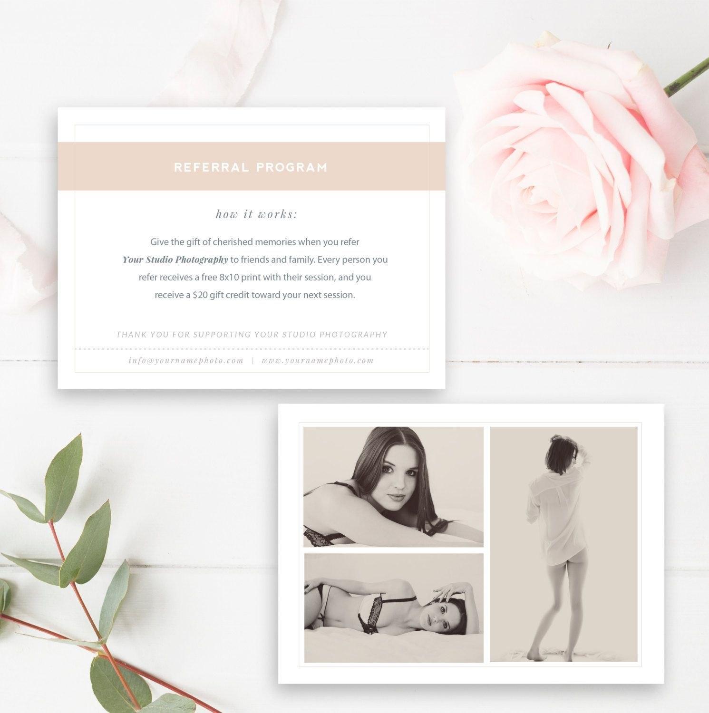 Boudoir Photography Referral Card  Photoshop Template  Referral Inside Photography Referral Card Templates