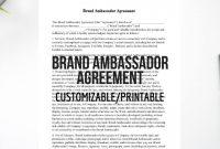 Brand Ambassador Agreement Easy To Customize Instant  Etsy for Brand Ambassador Agreement Template