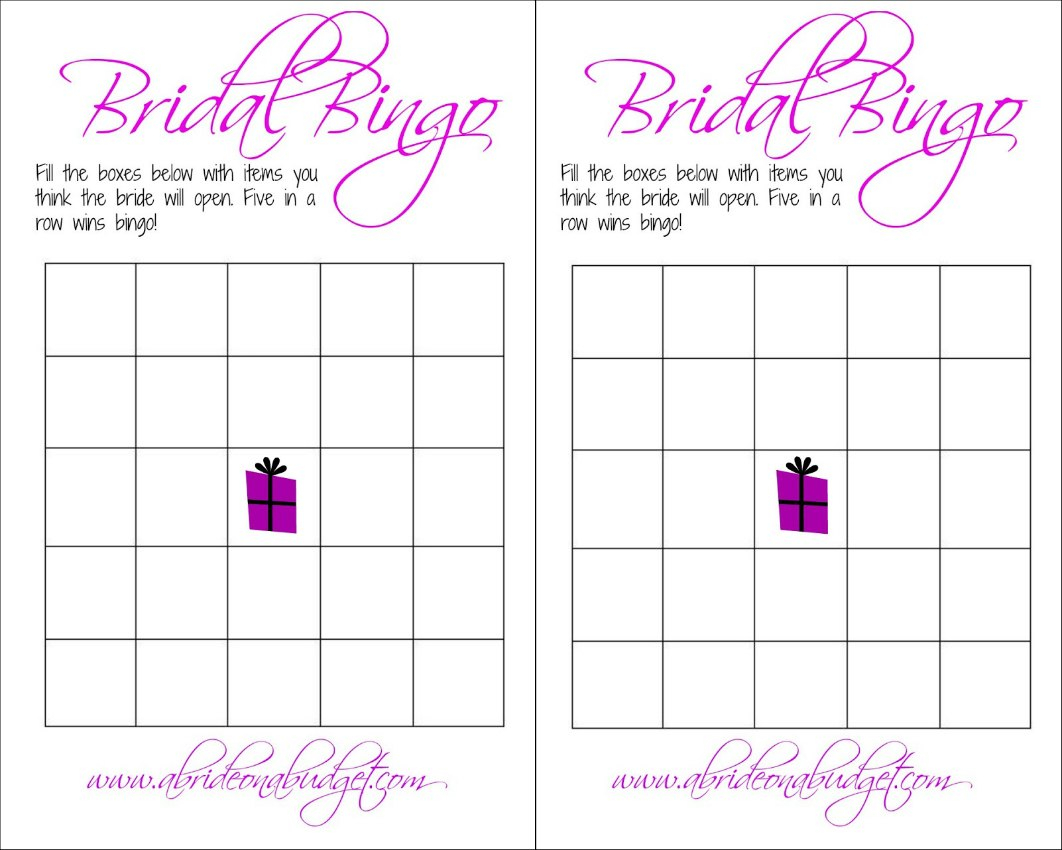 Bridal Bingo And A Free Printable  A Bride On A Budget Pertaining To Blank Bridal Shower Bingo Template