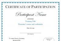 Brilliant Ideas For Conference Participation Certificate Template On for Conference Participation Certificate Template
