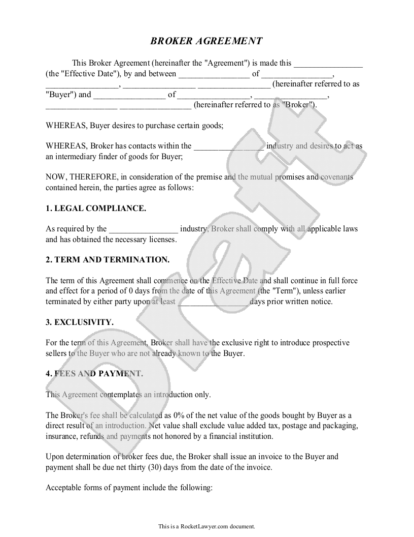 Broker Agreement Contract  Fees  Business  Sample  Broker With Regard To Business Broker Agreement Template