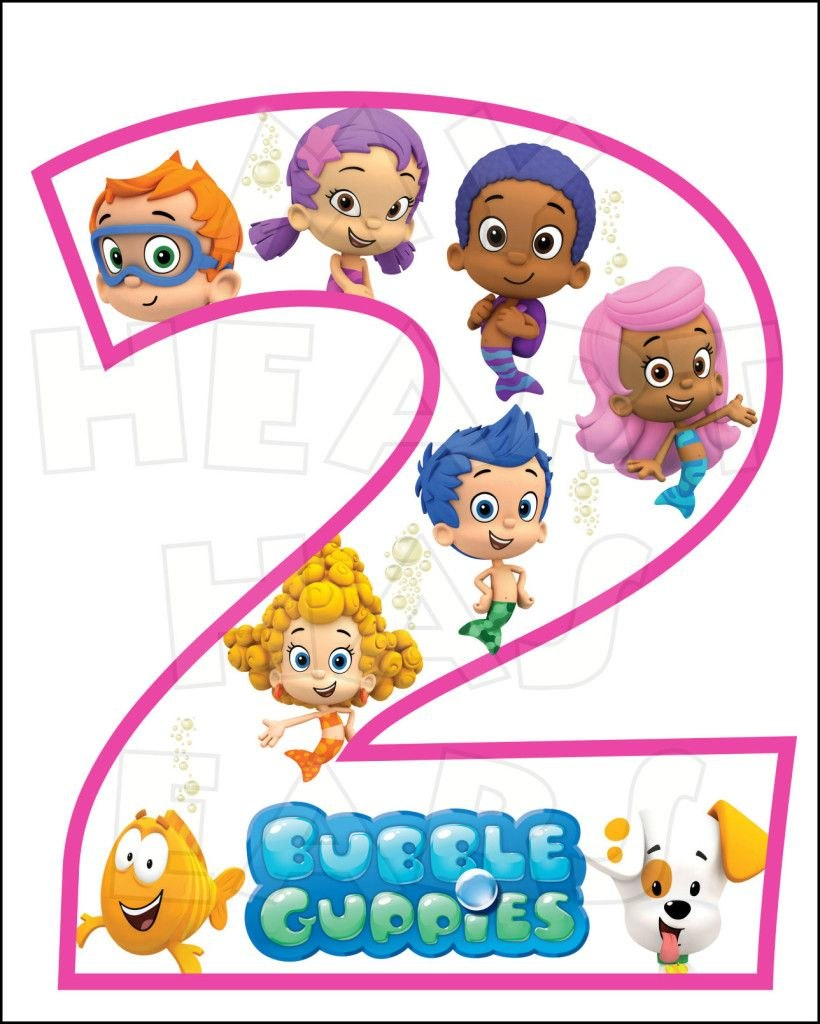 Bubble Guppies Nd Birthday Instant Download Digital Clip Art  My For Bubble Guppies Birthday Banner Template