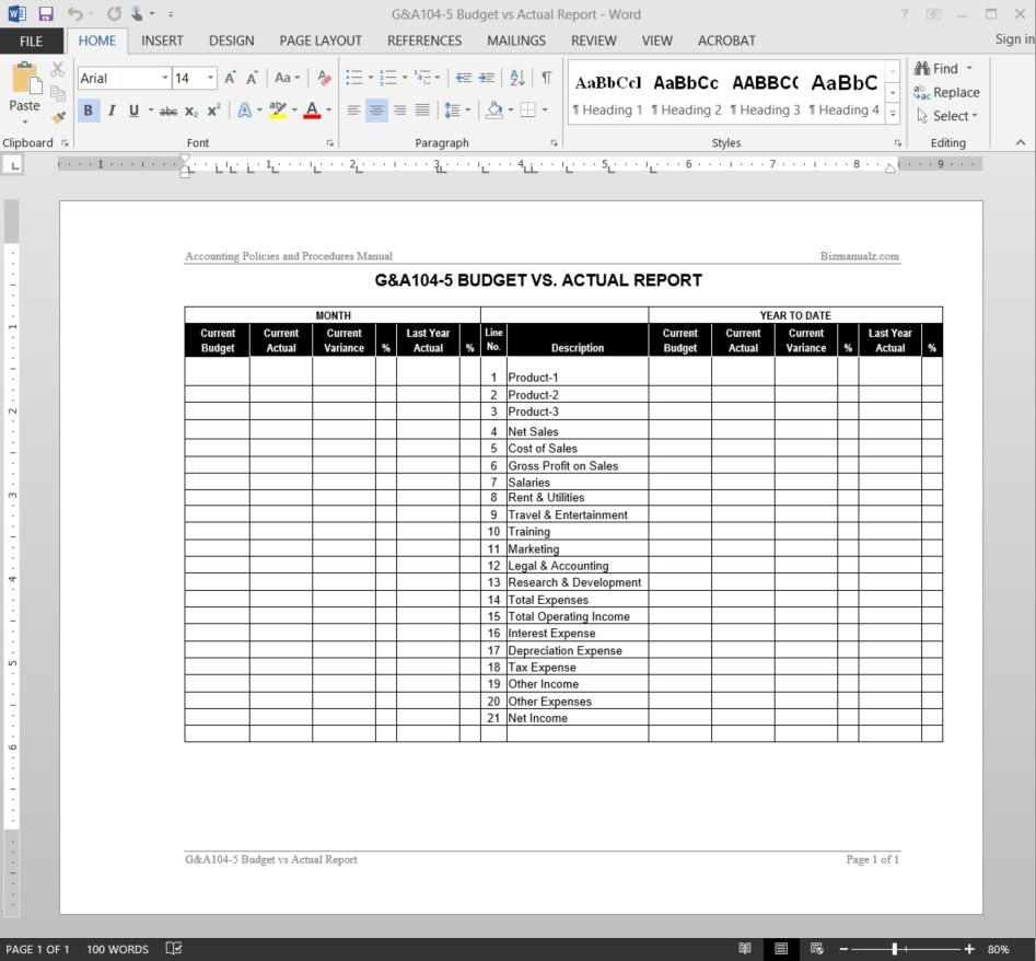 Budget Vs Actual Report Template Pertaining To Sales Trip Report Template Word