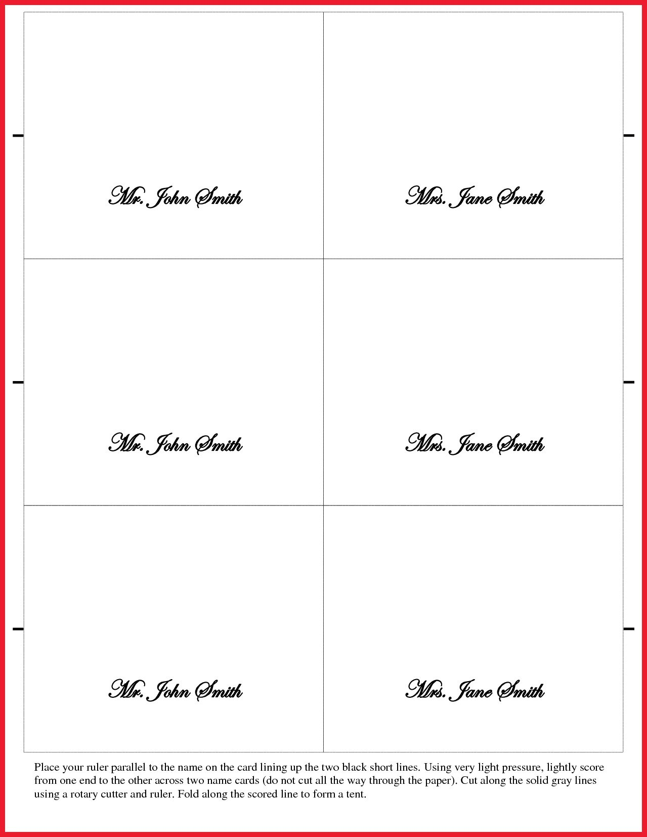 Bunch Ideas For Fold Over Place Card Template About Description Pertaining To Fold Over Place Card Template