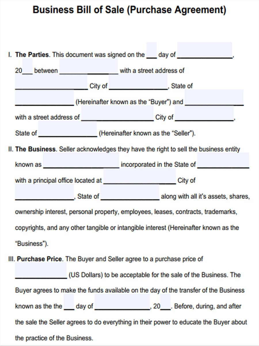 Business Bill Of Sale Form Sample  Free Sample Example Format Throughout Sale Of Business Contract Template Free