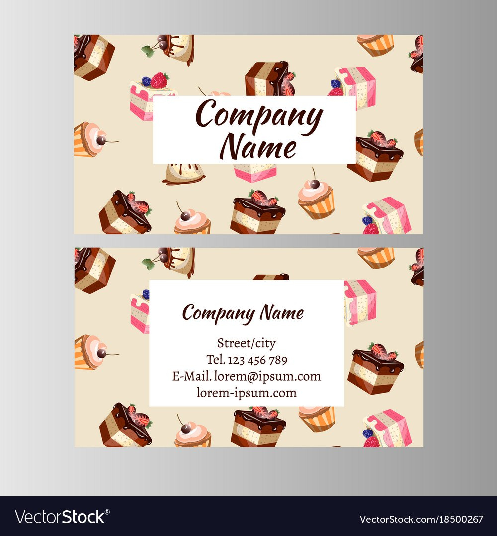 Business Card Design Template With Tasty Cakes Vector Image Inside Cake Business Cards Templates Free