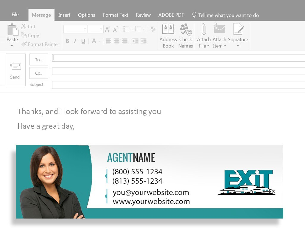 Business Card Email Signature  Exit Realty Business Cards Intended For Email Business Card Templates