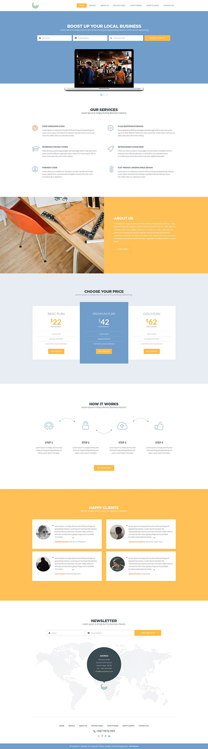 Business  Free One Page Website Template For One Page Business Website Template