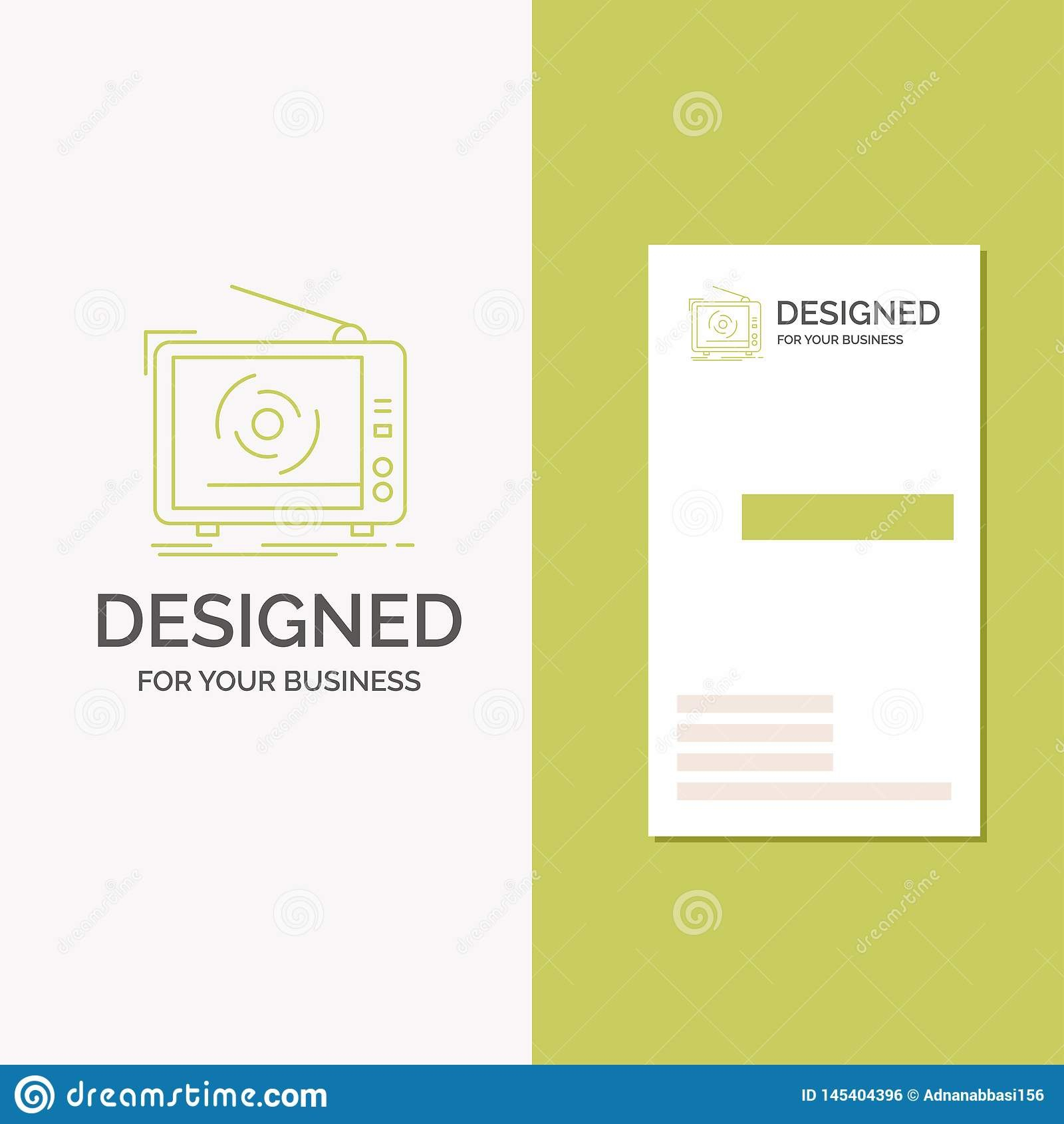 Business Logo For Tv Ad Advertising Television Set Vertical In Advertising Card Template