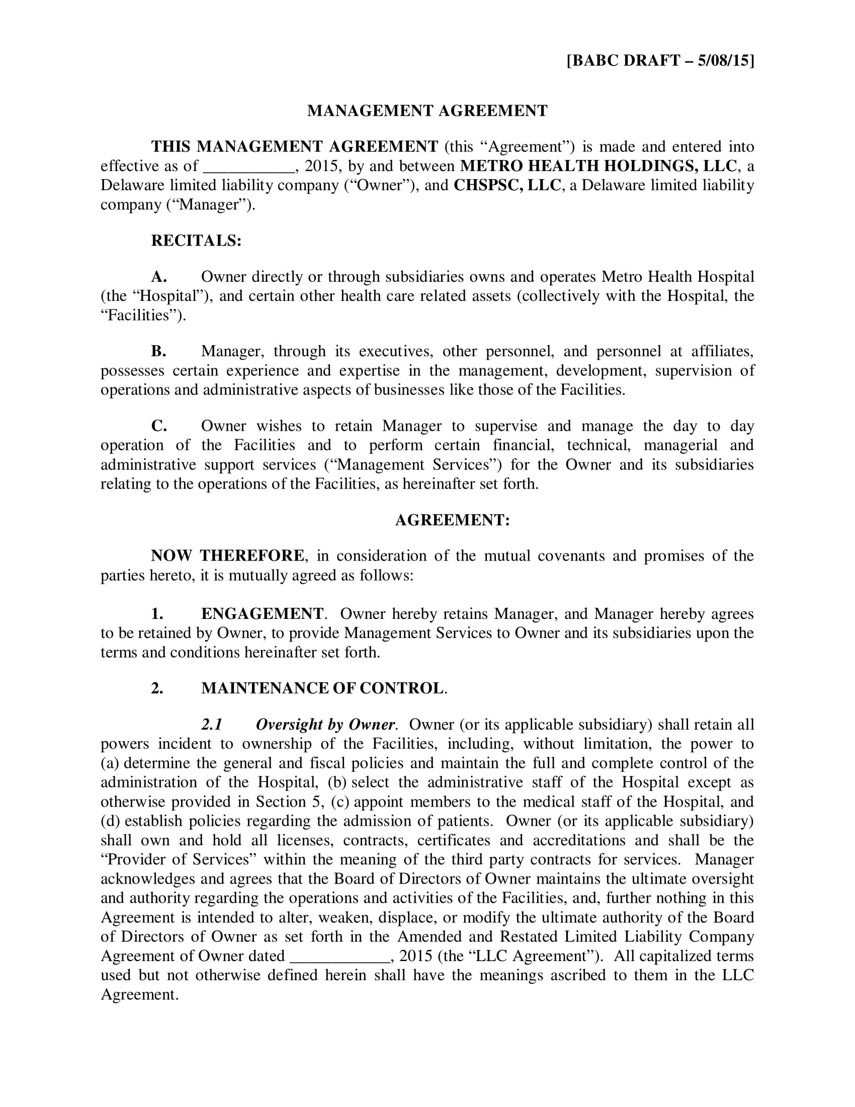 Business Manager Contract Templates  Pdf Docs  Examples With Regard To Business Management Contract Template