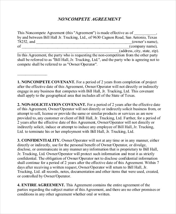 Business Noncompete Agreement Templates  Free Sample Example With Regard To Business Templates Noncompete Agreement