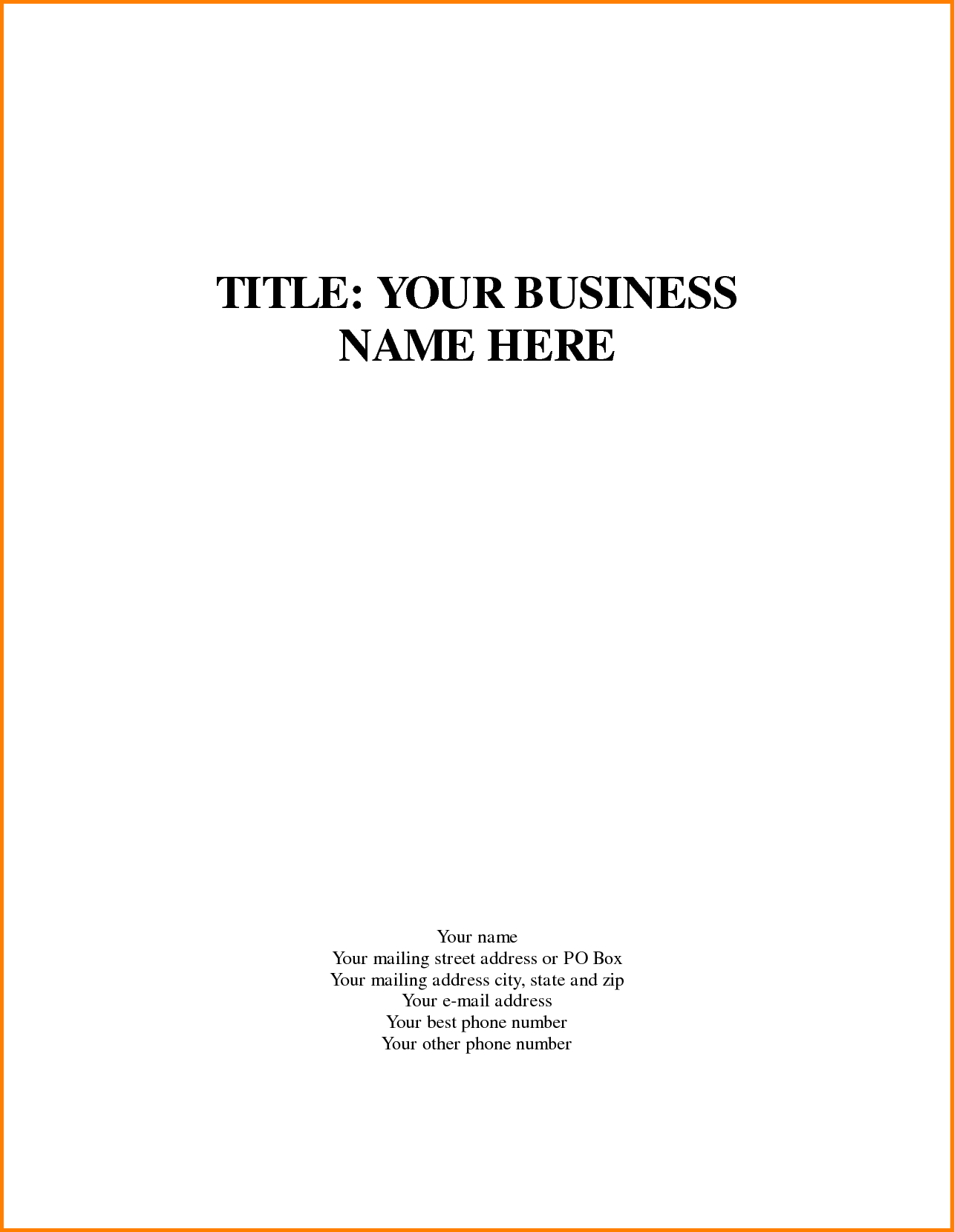 Business Plan Cover Page Template Marvelous Templates Word Intended For Word Title Page Templates